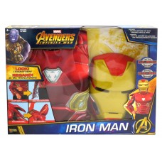 MARVEL AVENGERS IRON MAN DELUXE COSTUME TOP WITH ARMORED PARTS & MASK - SIZE 4-6