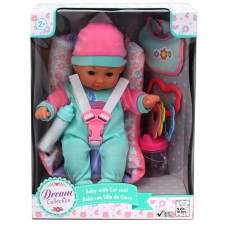 """Dream Collection 12"""" Baby With Car Seat"""