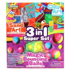 3 in 1 Sand Art, Clay Art & Magic Bouncing Balls Creation Set