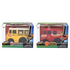 Friction Powered Trucks 6'' Fire rescue & School bus Asst
