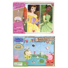 Wood Puzzle 5-pack Peppa Pig & Disney Princess Asst