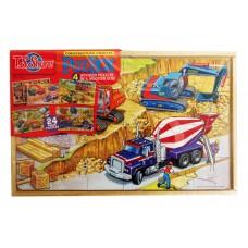 Puzbox Construction Vehicles 4 Wooden Puzzle Asst. Set