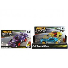 3D Pull Back Puzzle Racers (22pcs) w/ display Asst