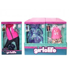 Girlslife Fashion outfits (fits most 18in dolls) w/display
